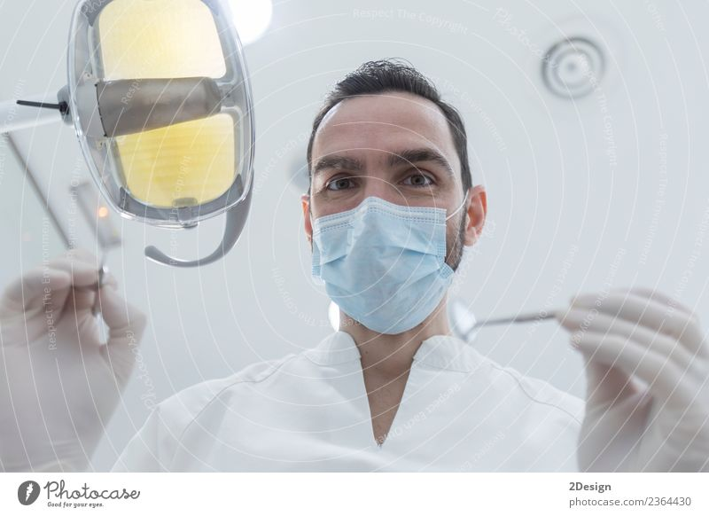 Doctor with mask and tools. Woman Human being Youth (Young adults) Young man White Hand Adults Health care Above Masculine Clean Profession Medication