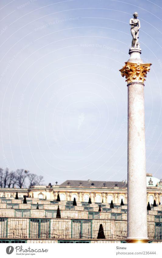 Sky Park Tall Tourism Culture Beautiful weather Past Statue Luxury Column Tourist Attraction Potsdam Brandenburg Chateau Sanssouci