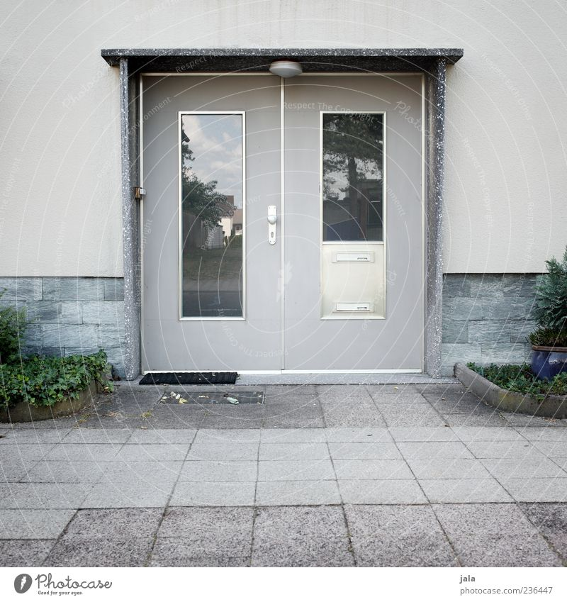 Old Plant House (Residential Structure) Wall (building) Architecture Gray Wall (barrier) Building Door Facade Gloomy Retro Manmade structures Entrance Vintage Sixties