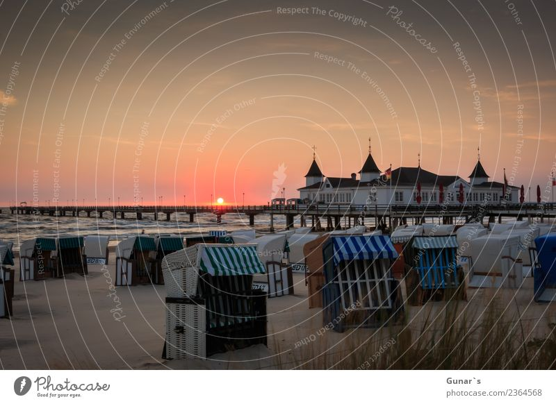 Seebrücke Ahlbeck on Usedom at sunrise_001 Lifestyle Elegant Relaxation Vacation & Travel Tourism Trip Adventure Far-off places Freedom Camping Summer vacation