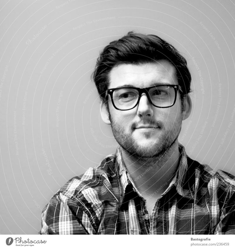 thoughts 1 Human being Emotions Looking Eyeglasses Observe Man Smart Skeptical Facial hair Hair and hairstyles Portrait photograph Shirt Eyes Moody Whim Wait