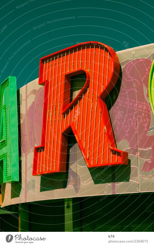 R Horse Sign Characters Multicoloured Green Red Typography Neon sign Serif Colour photo Exterior shot Day Light Shadow Central perspective