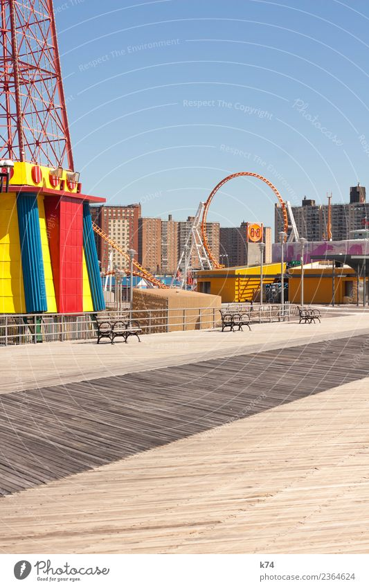 NYC - Luna Park Coney Island - Three Benches Cloudless sky Beautiful weather New York City USA Americas Capital city Outskirts Deserted