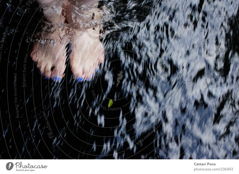 refreshment Feet Water Brook River Stand Cold Near Nail polish Leaf Refreshment Flow Current Barefoot Colour photo Exterior shot Day Blue