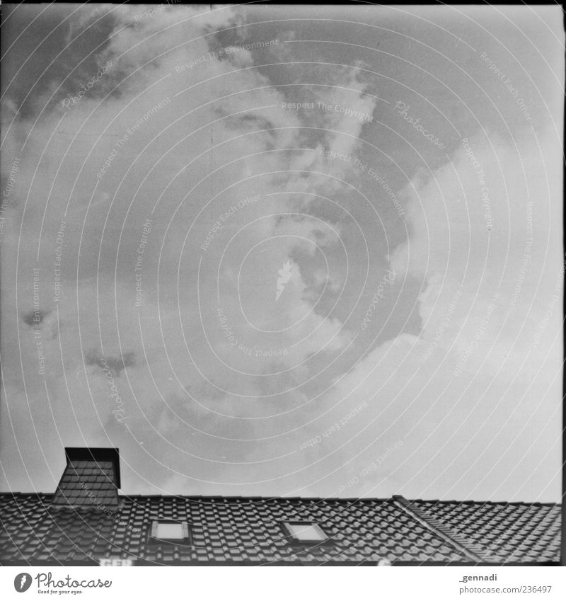 The sky above me Sky Clouds Weather Roof Chimney Skylight Cloud cover Analog Frame Black & white photo Exterior shot Deserted Day Sunlight Worm's-eye view