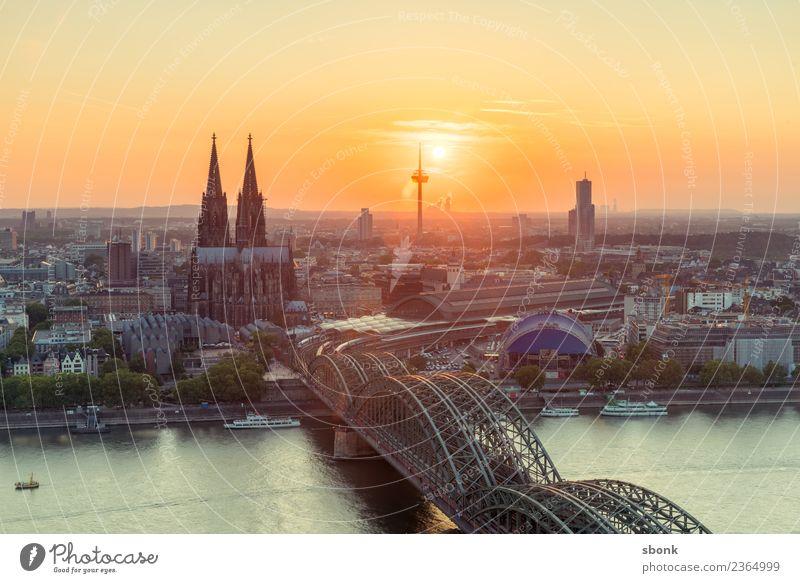 Cologne evening kitsch Skyline Dome Vacation & Travel Germany City cityscape Rhine Colour photo Exterior shot Sunrise Sunset