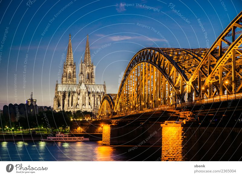 Cologne Hohenzollern Bridge Town Skyline Dome Vacation & Travel Germany City cityscape Rhine Cologne Cathedral Colour photo Evening Twilight Night Sunrise