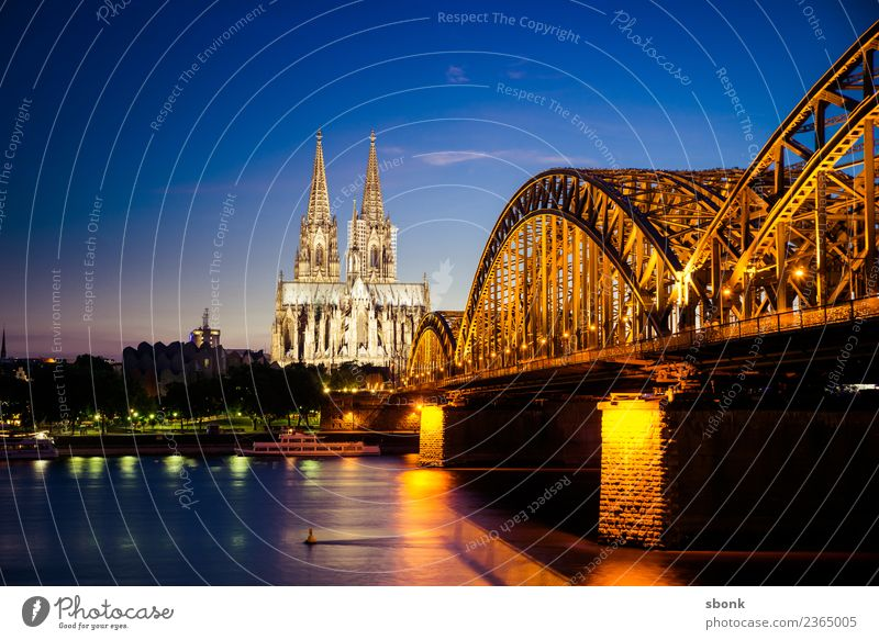 Hohenzollern Cologne Skyline Dome Architecture Vacation & Travel Germany City cityscape Rhine Colour photo Exterior shot Copy Space top Evening Twilight Night