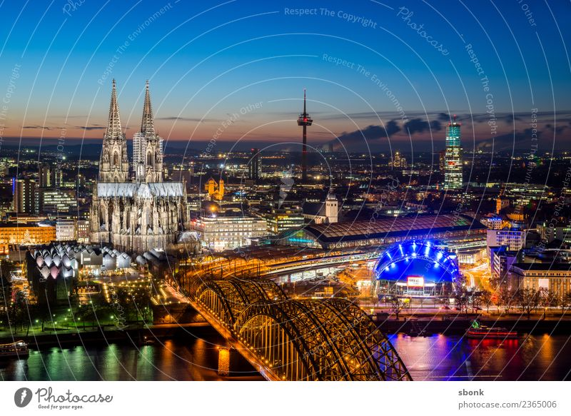 Cologne evening kitsch Town Downtown Old town Skyline Dome Vacation & Travel Germany City cityscape Rhine Cologne Cathedral Colour photo Exterior shot Deserted
