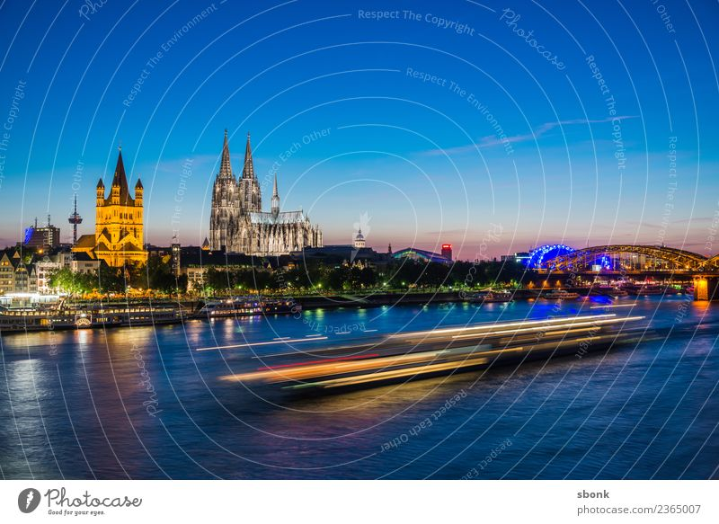Hell in the evening Cologne Town Port City Skyline Dome Vacation & Travel Germany cityscape Rhine Colour photo Evening Twilight Night