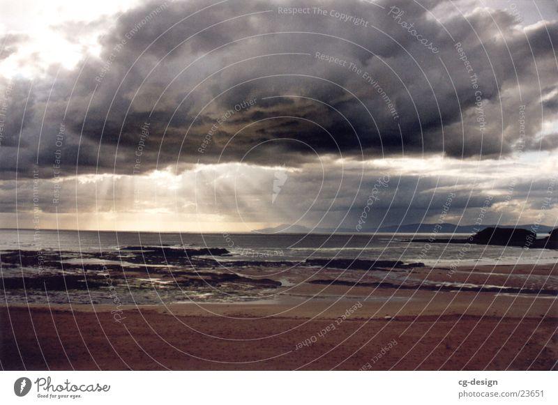 Water Sun Ocean Beach Clouds Europe Ireland Bad weather