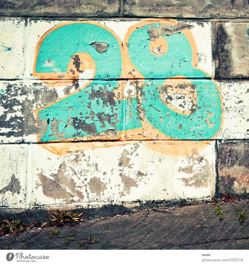 twenty-eight Wall (barrier) Wall (building) Digits and numbers Graffiti Old Authentic Dirty Brash Broken Trashy Gloomy Multicoloured 28 Green Gaudy Footpath