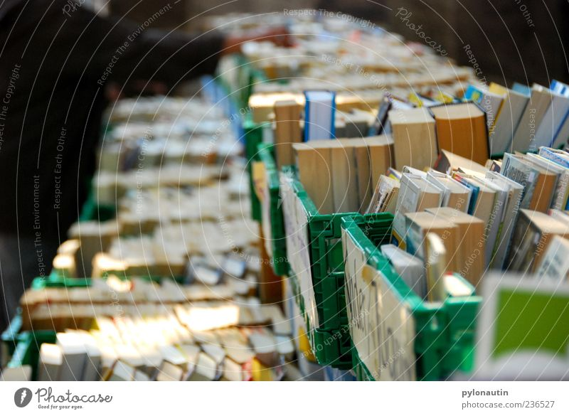book perspective Book Collection Flea market Colour photo Exterior shot Evening Shallow depth of field Crate Many Deserted