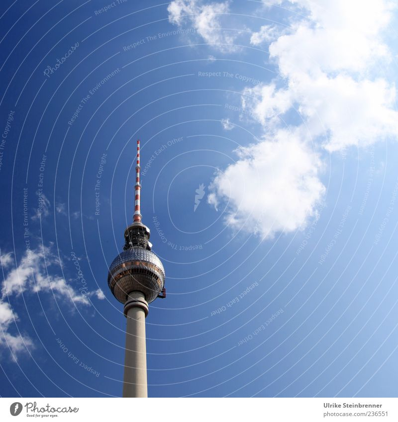 City Clouds Berlin Architecture Building Glittering Tall Large Concrete Modern Esthetic Illuminate Stand Technology Telecommunications Point