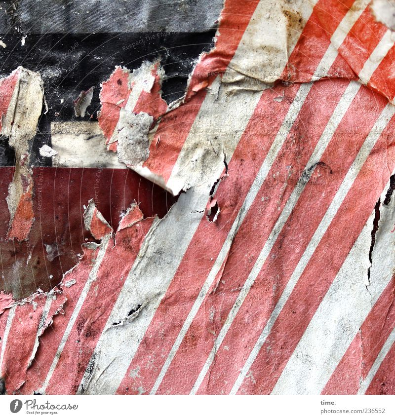 Paper is patient Stripe Old Dirty Dark Hideous Broken Crazy Trashy Red White Nostalgia Transience Change Advertising Poster Cardboard Advertising column