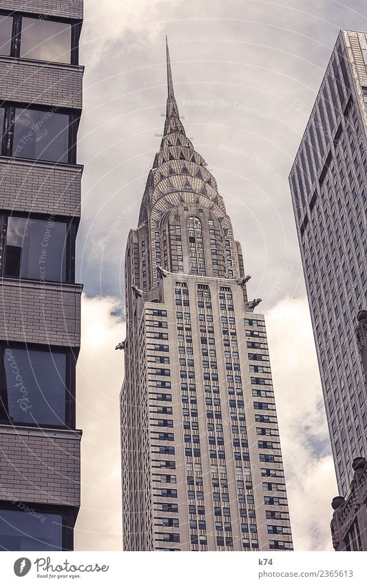 NYC - Chrysler Building Skyline Worm's-eye view Day Exterior shot Subdued colour Colour photo Town New York City USA Americas Capital city Downtown Deserted