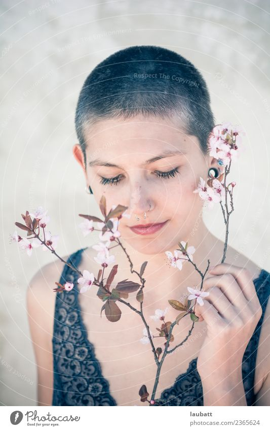 Springtime woman Beautiful Personal hygiene Body Hair and hairstyles Skin Face Androgynous Young woman Youth (Young adults) Flower Cherry blossom Almond blossom