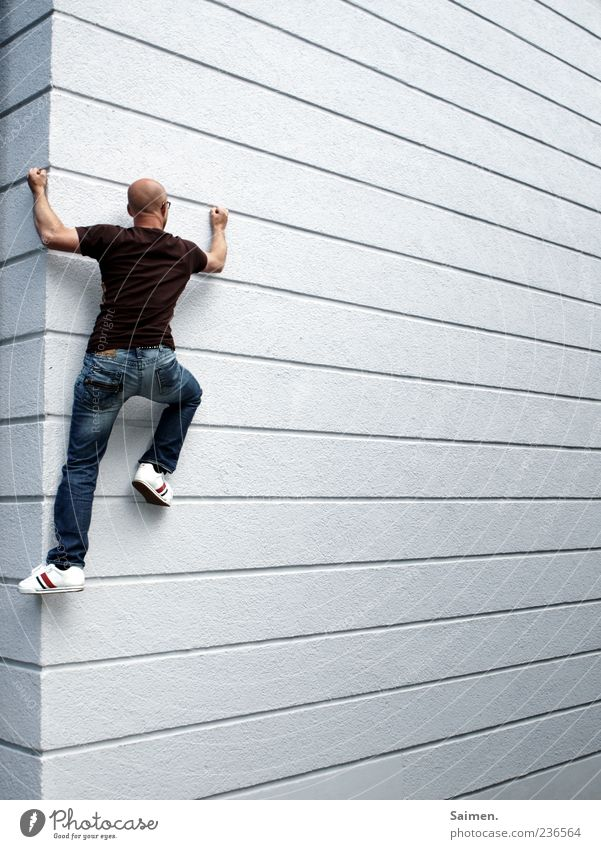 cityclimbing Human being Masculine Man Adults 1 18 - 30 years Youth (Young adults) Wall (barrier) Wall (building) Facade Movement Athletic Exceptional Muscular