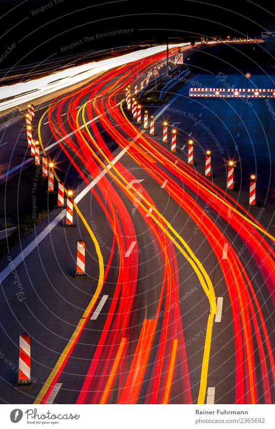 Traces of light from vehicles on a motorway at night Industry Transport Means of transport Traffic infrastructure Motoring Street Highway Vehicle Driving Speed