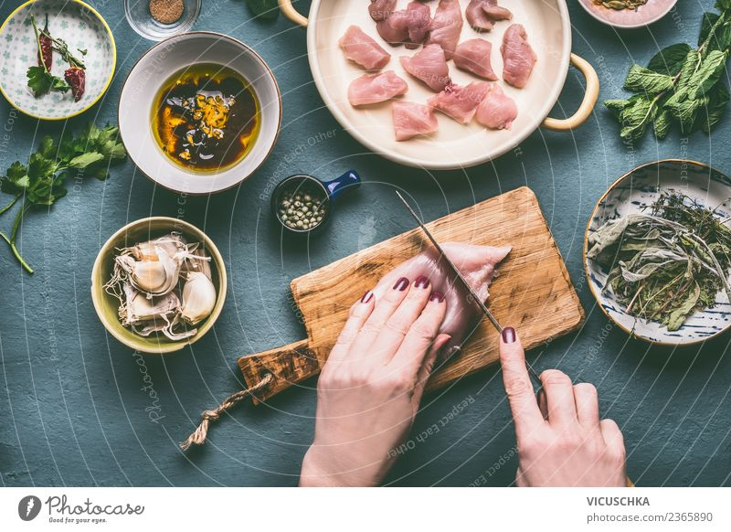 Hands cut chicken breast fillet Food Meat Herbs and spices Cooking oil Nutrition Lunch Dinner Organic produce Diet Crockery Bowl Knives Style Design