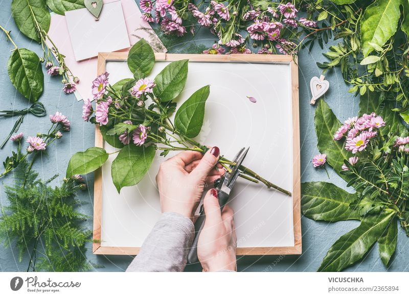 Hands make bunch of flowers Shopping Style Design Leisure and hobbies Table Feasts & Celebrations Feminine Woman Adults Nature Plant Flower Leaf Blossom