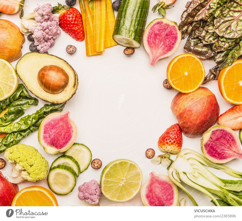 Fruit and vegetable frame on white Food Vegetable Lettuce Salad Apple Orange Nutrition Organic produce Vegetarian diet Diet Style Design Healthy Healthy Eating