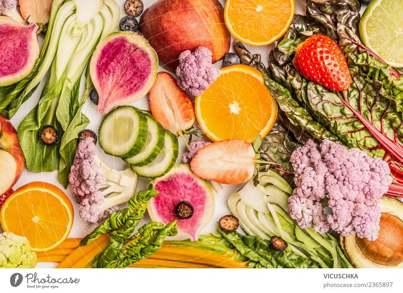 Colourful fruit and vegetable background Food Vegetable Fruit Apple Orange Nutrition Organic produce Vegetarian diet Diet Shopping Style Design Healthy