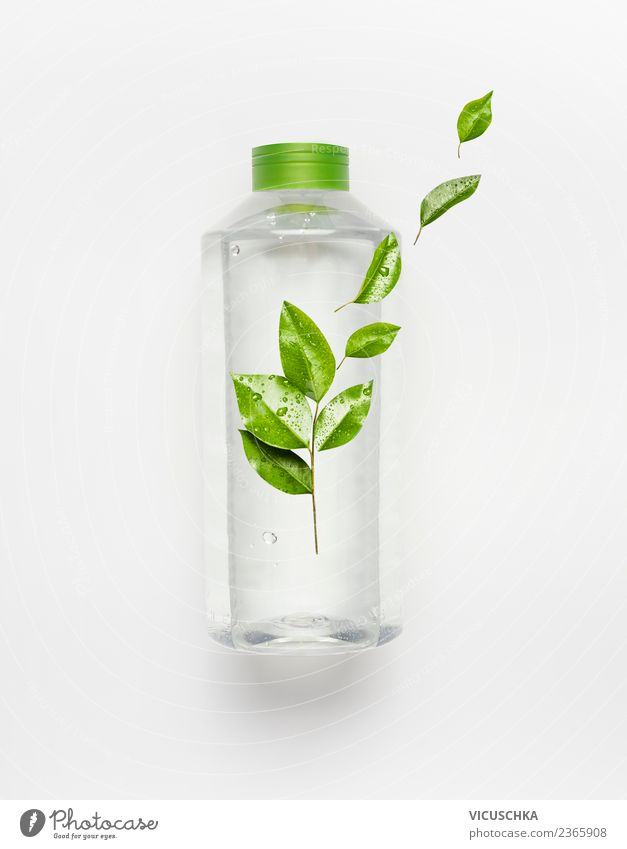 Bottle with water and green leaves Beverage Drinking Cold drink Drinking water Shopping Style Design Healthy Healthy Eating Wellness Life Summer Nature Water
