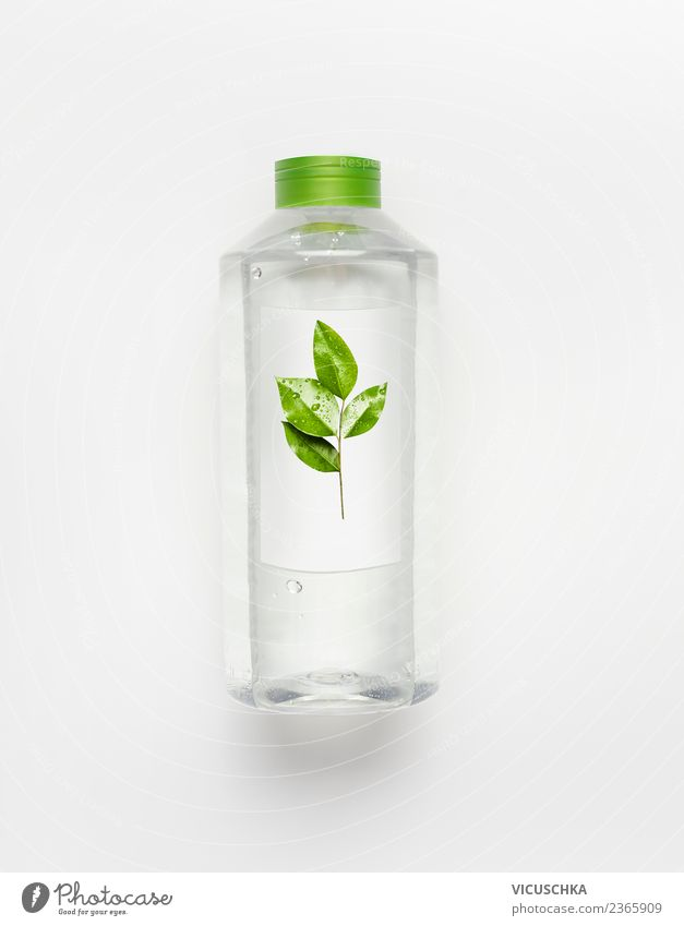 Water bottle with green leaves Beverage Cold drink Drinking water Lifestyle Style Healthy Wellness Summer Nature Cool (slang) Design Pure Minerals