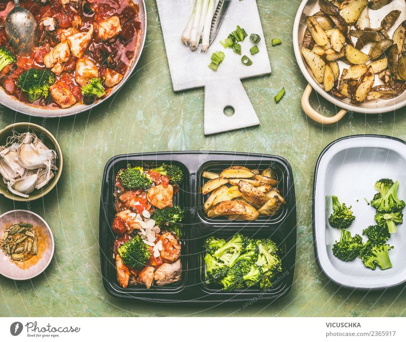 Preparing a healthy lunch box for lunch Food Meat Vegetable Lettuce Salad Nutrition Lunch Organic produce Diet Crockery Style Design Healthy Eating