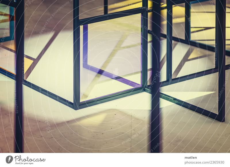 virtually Deserted Facade Window Glass Metal Line Network Sharp-edged Blue Brown Yellow Violet Pink Virtual Colour photo Subdued colour Close-up Abstract