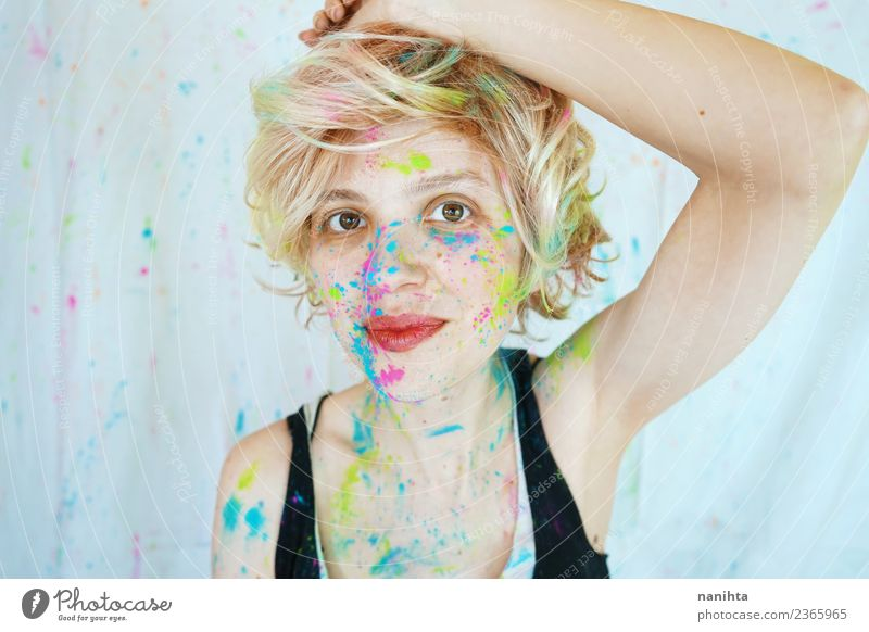 Young happy woman dirty of paint Lifestyle Style Design Joy Beautiful Leisure and hobbies Human being Feminine Young woman Youth (Young adults) Woman Adults 1