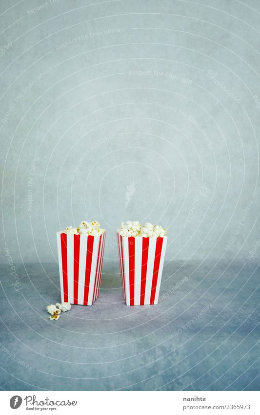 Two retro boxes of popcorn Food Popcorn Nutrition Eating Leisure and hobbies Entertainment Cinema Stripe Authentic Simple Together Cheap Good Small Delicious
