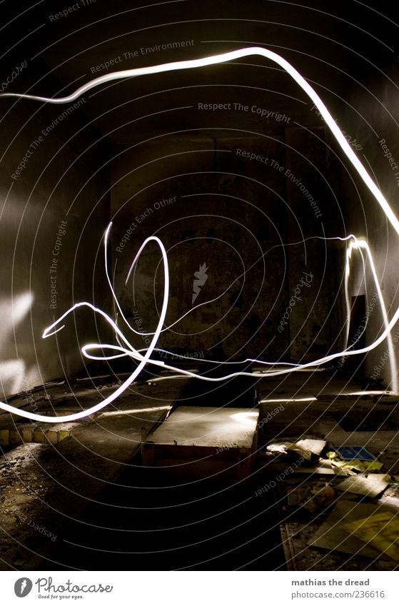 Old White Dark Building Room Dirty Gloomy Manmade structures Light art Tracer path Strip of light Light painting