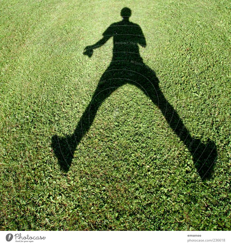 Shadowjumper Joy Life Leisure and hobbies Playing Summer Human being Masculine Man Adults 1 Grass Meadow Movement Jump Green Emotions Moody Colour photo
