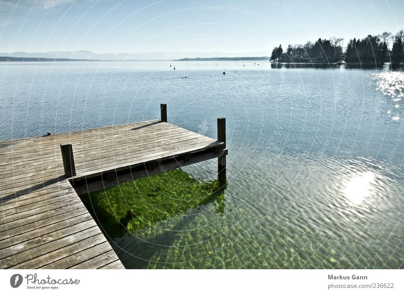 jetty at the lake Relaxation Calm Vacation & Travel Nature Lake Blue Gray Jetty Footbridge Wood Reflection Sun Horizontal Lakeside Wet Warmth Colour photo
