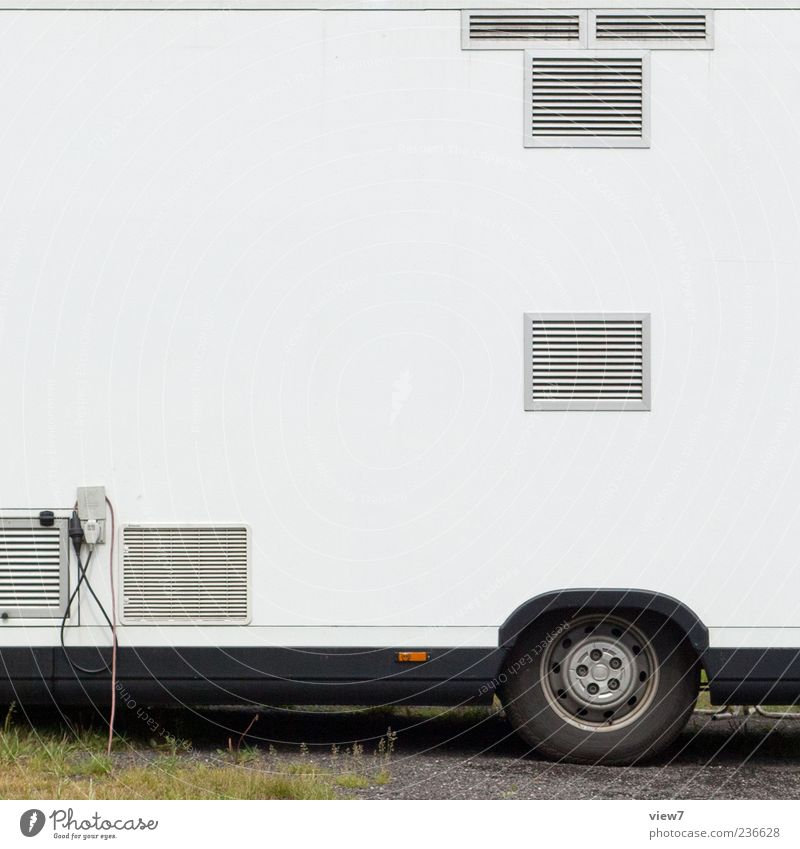 Doner kebab BackEnd Logistics Vehicle Metal Line Uniqueness Modern New White Stall Transporter Ventilation Connection Cable Colour photo Exterior shot Detail