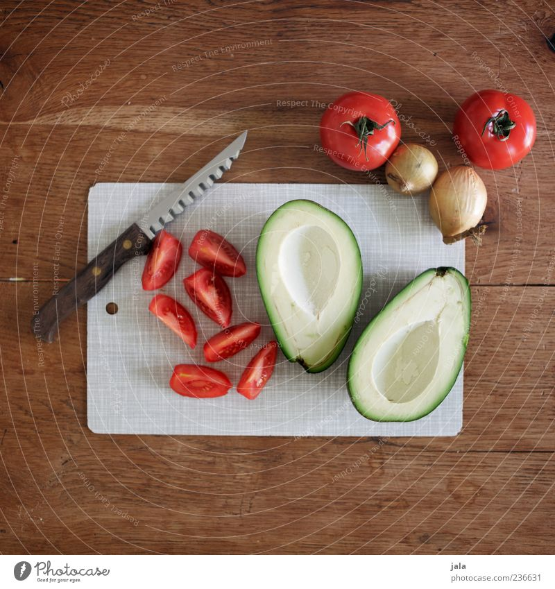preparation Food Vegetable Onion Avocado Tomato Nutrition Knives Chopping board Healthy Delicious Colour photo Interior shot Deserted Copy Space top