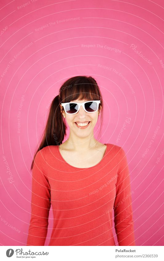 #A# Smile Magenta Art Esthetic Woman Upper body Friendliness happy Easter Pink Smiling Sunglasses Colour photo Multicoloured Interior shot Studio shot Close-up
