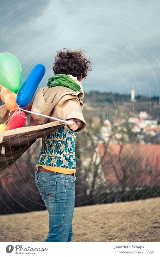 young woman with balloon on the mountain at a city Lifestyle Joy luck Leisure and hobbies Playing Vacation & Travel Human being Feminine Young woman