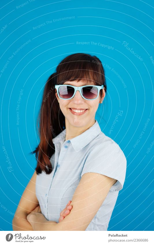 #A# Smile Blue 1 Human being Esthetic Passport photograph Portrait photograph Woman Happiness Happy Laughter Smiling Blouse Interlock Sunglasses Career