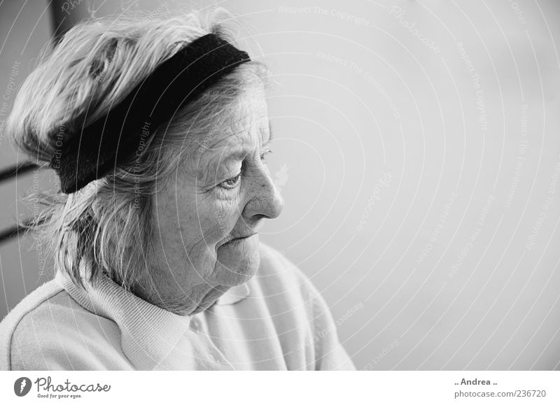 Human being Woman Old Senior citizen Meditative Change Transience Female senior Fear of the future Grandmother Grandparents Black & white photo Hairband