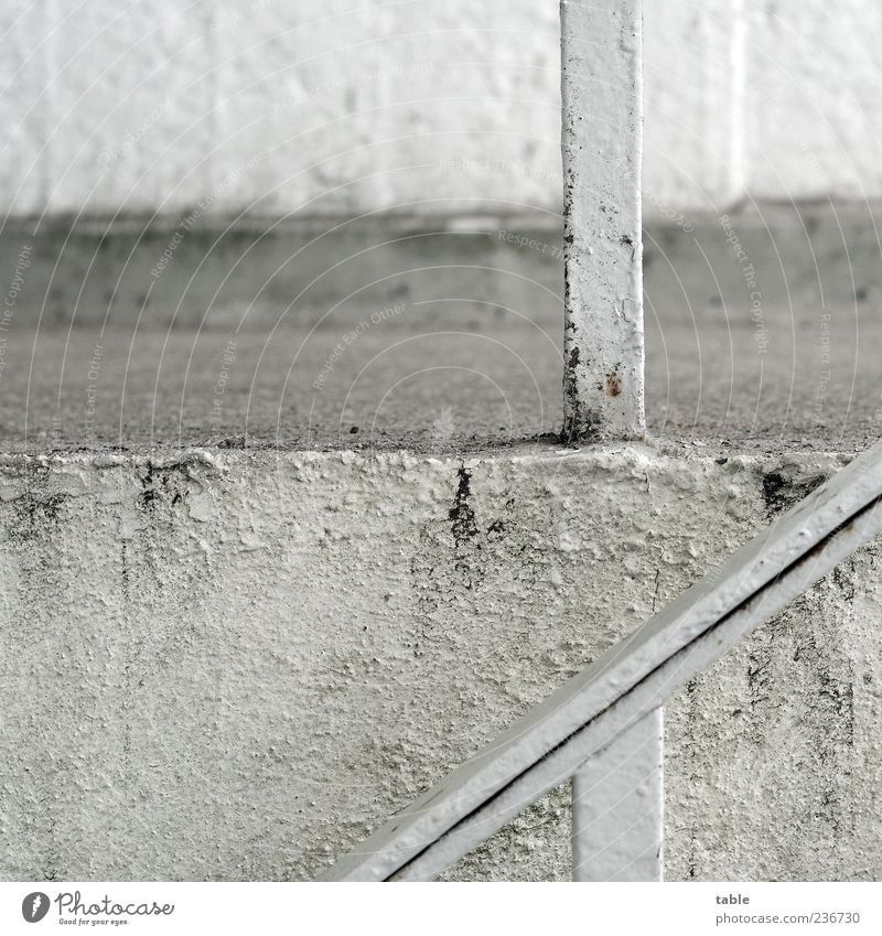 Old White Wall (building) Gray Architecture Wall (barrier) Stone Building Metal Dirty Concrete Stairs Corner Gloomy Manmade structures Decline