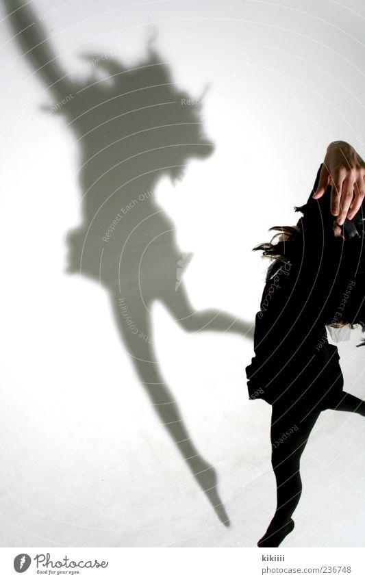 creepy Ghosts & Spectres  Bird Raven birds Crow Jump Flying Shadow Human being Costume Carnival costume Hover Creepy White Black Studio shot Hand Legs