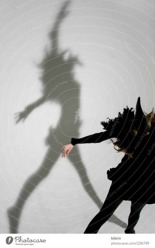 Scary Ghosts & Spectres  Shadow Mythical creature Bird Raven birds Crow Costume Carnival costume Jump Flying Hover Girl Black White Studio shot Creepy