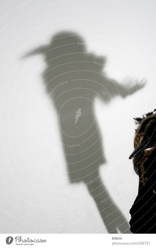 beak Ghosts & Spectres  Shadow Mythical creature Bird Raven birds Crow Costume Carnival costume Flying Hover Girl Black White Studio shot Creepy Mysterious Arm