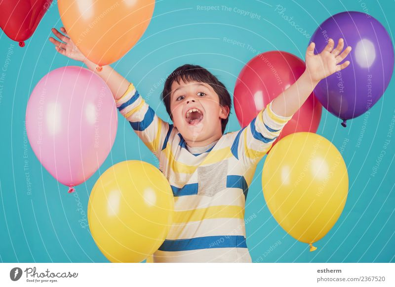 happy and smiling boy with colorful balloons Lifestyle Joy Adventure Freedom Party Event Feasts & Celebrations Birthday Human being Masculine Child Toddler