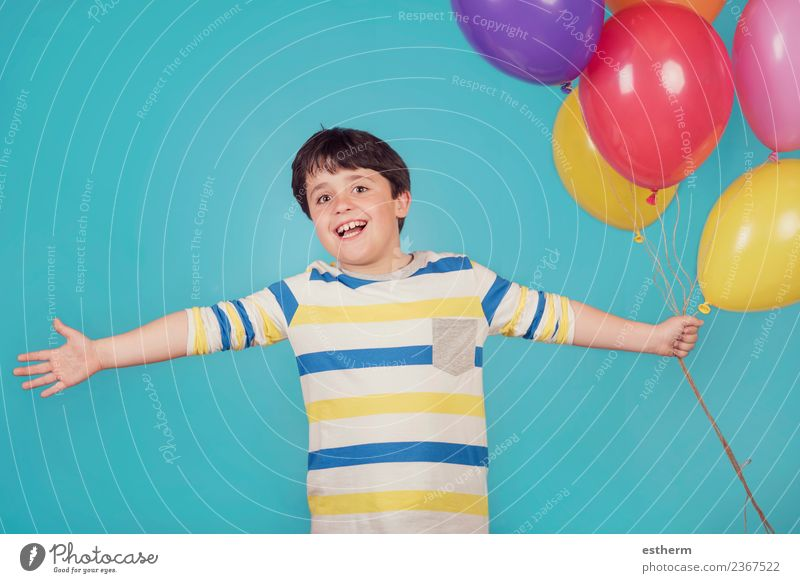happy and smiling boy with colorful balloons Lifestyle Joy Vacation & Travel Adventure Freedom Feasts & Celebrations Birthday Human being Masculine Child