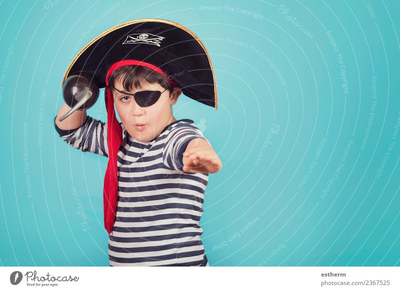 boy dressed as a pirate Child Human being Joy Lifestyle Funny Emotions Movement Party Feasts & Celebrations Masculine Infancy Birthday Fantastic Threat Might