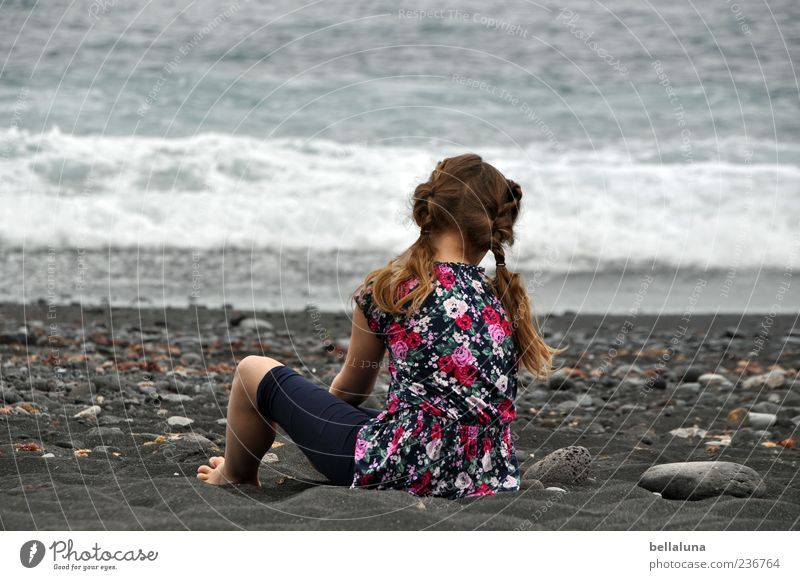 stone on stone Human being Feminine Child Girl Infancy Life Hair and hairstyles Back Arm Legs 1 Sand Water Summer Waves Beach Ocean Sit Playing Effortless